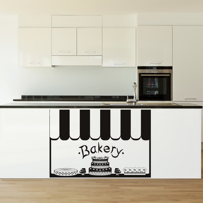 Wall Art Stickers Kitchen : Bakery front kitchen cafe wall art decals stickers