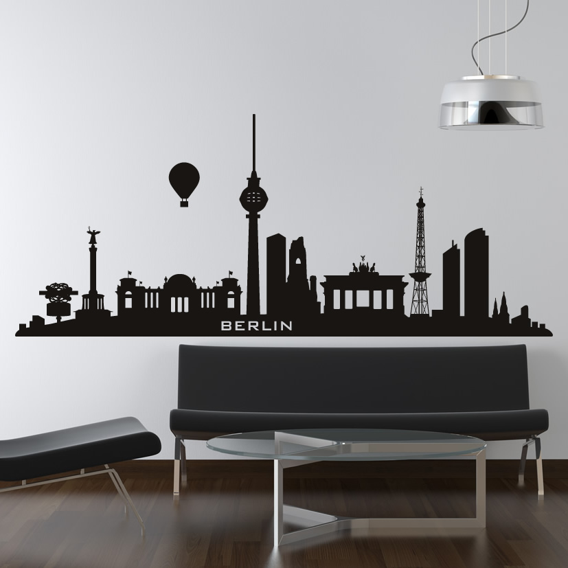 berlin germany skyline cities wall art decal wall stickers new york skyline wallsticker fra kun 229 kr