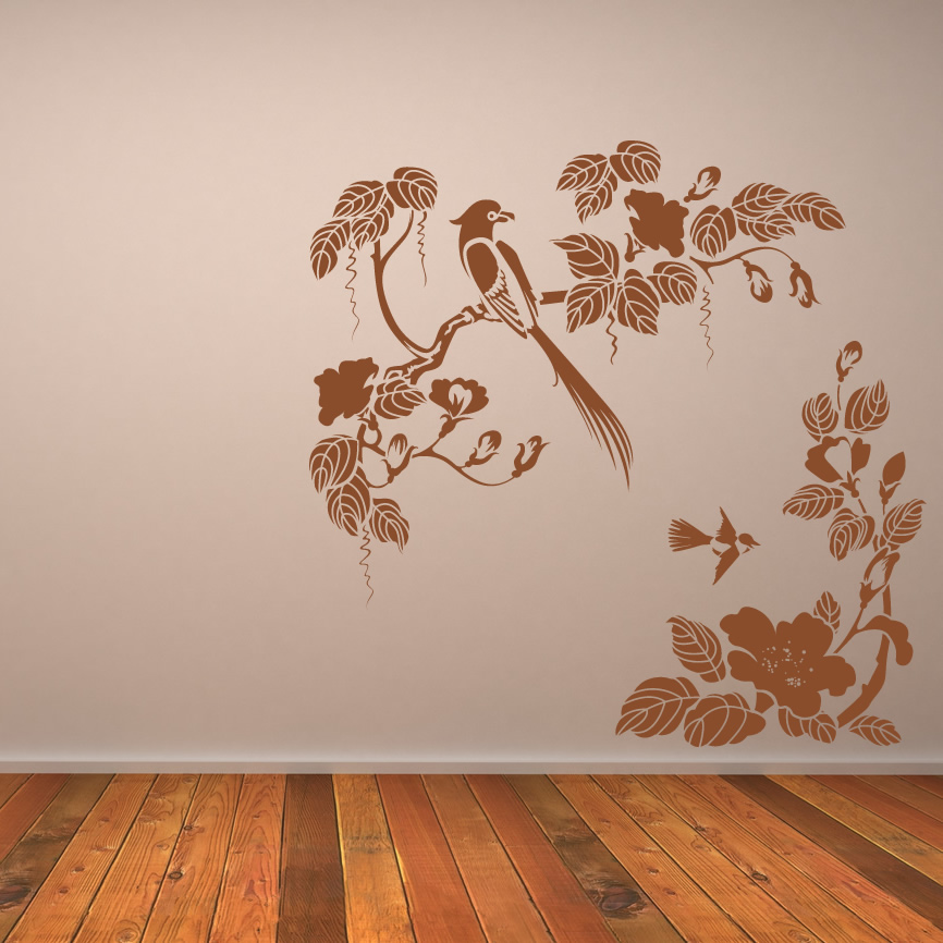 Wall Art Flowers And Birds : Birds flowers corner floral animal wall art sticker