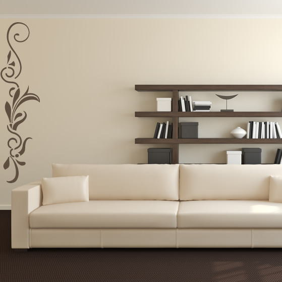 Vertical Brick Wall Accents Wall Decal: Vertical Straight Line Floral Embellishment Wall Stickers
