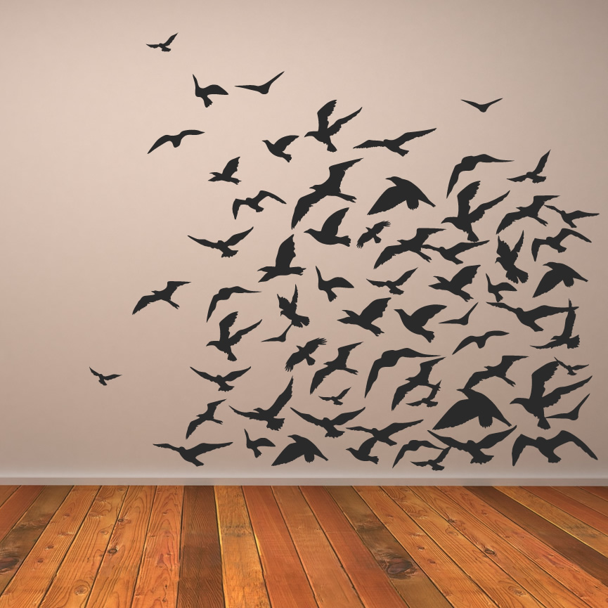 Flock of birds animals wall art decal wall stickers for Bird wall art