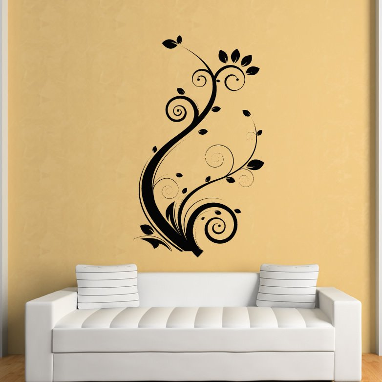 Wall Art Decals For Living Room: Floral Leaves Flowers Wall Art Stickers Wall Decal