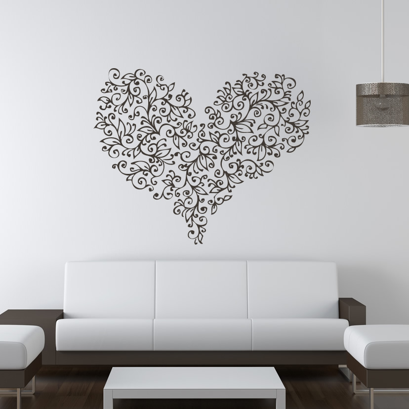 Wall Art Love Heart : Floral love heart flowers valentine wall art stickers