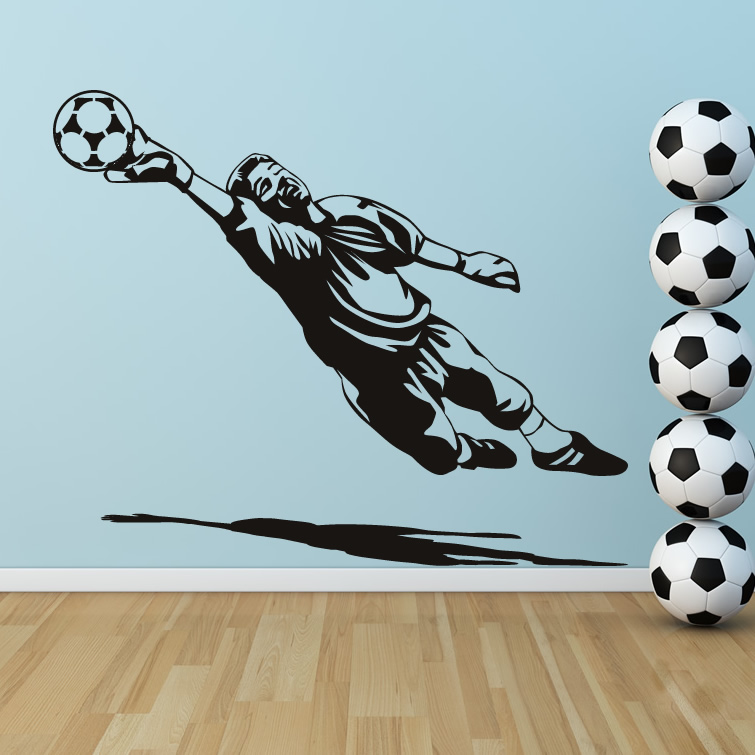 Goal keeper goalie football sport wall art sticker decal for Decoration chambre olympique de marseille
