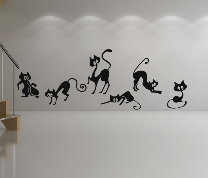 Group Of Funny Cats Animals Wall Stickers Wall Art Decal Transfers