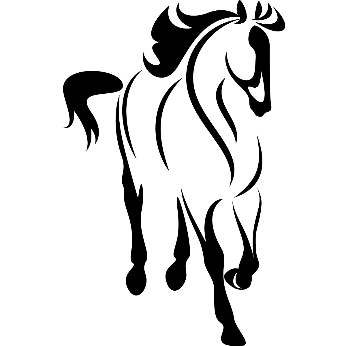 Horse outline looking down animals wall sticker wall art decal