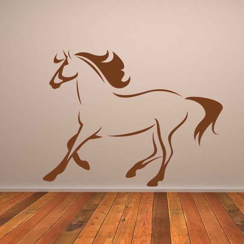 Wall Art Horse Decals : Horse outline running animals wall art decal stickers