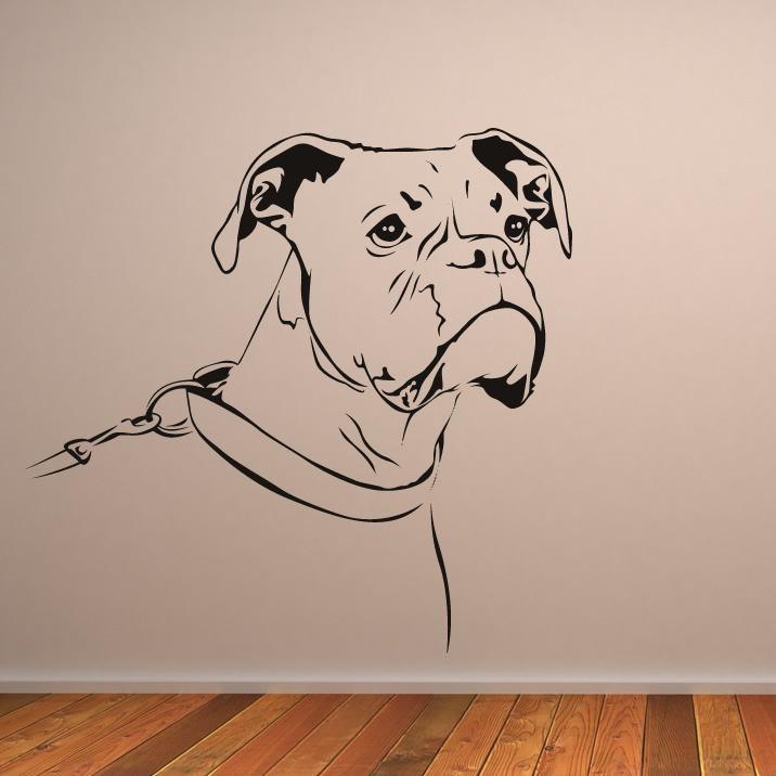 Outline boxer dog animals wall art stickers wall decal for Decor outline