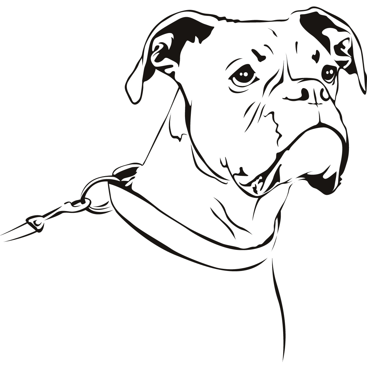 Line Drawing Of A Dog S Face : Outline boxer dog animals wall art stickers decal