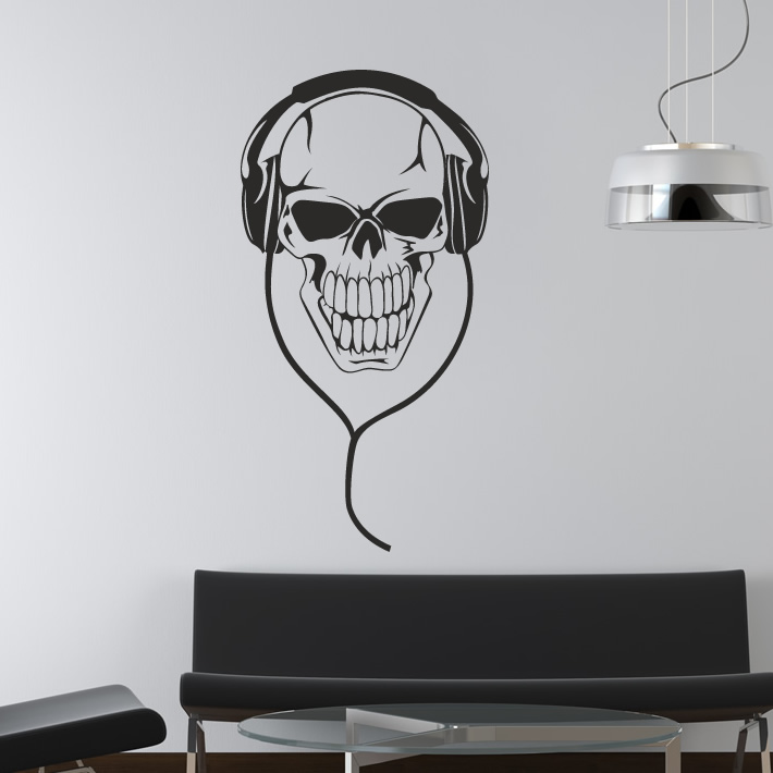 skull with headphones music dj wall stickers art decals. Black Bedroom Furniture Sets. Home Design Ideas