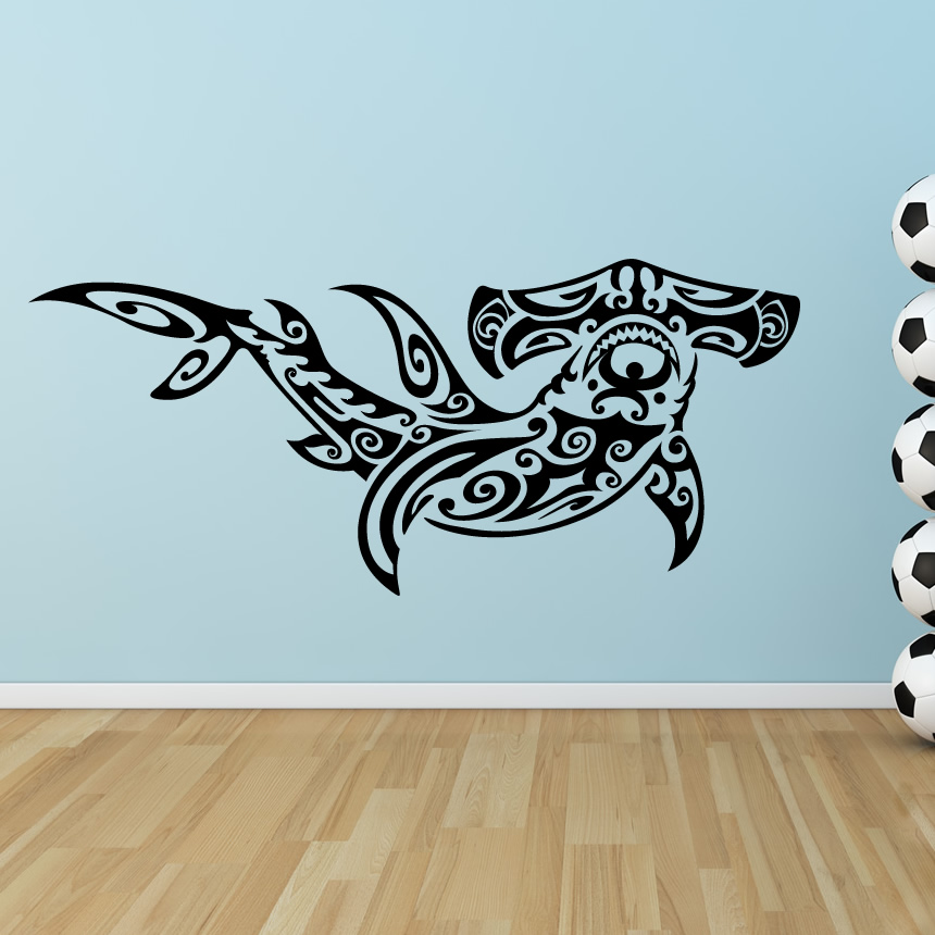 Delightful Tribal Hammerhead Shark Under The Sea Wall Stickers Wall Art Decal . Part 29