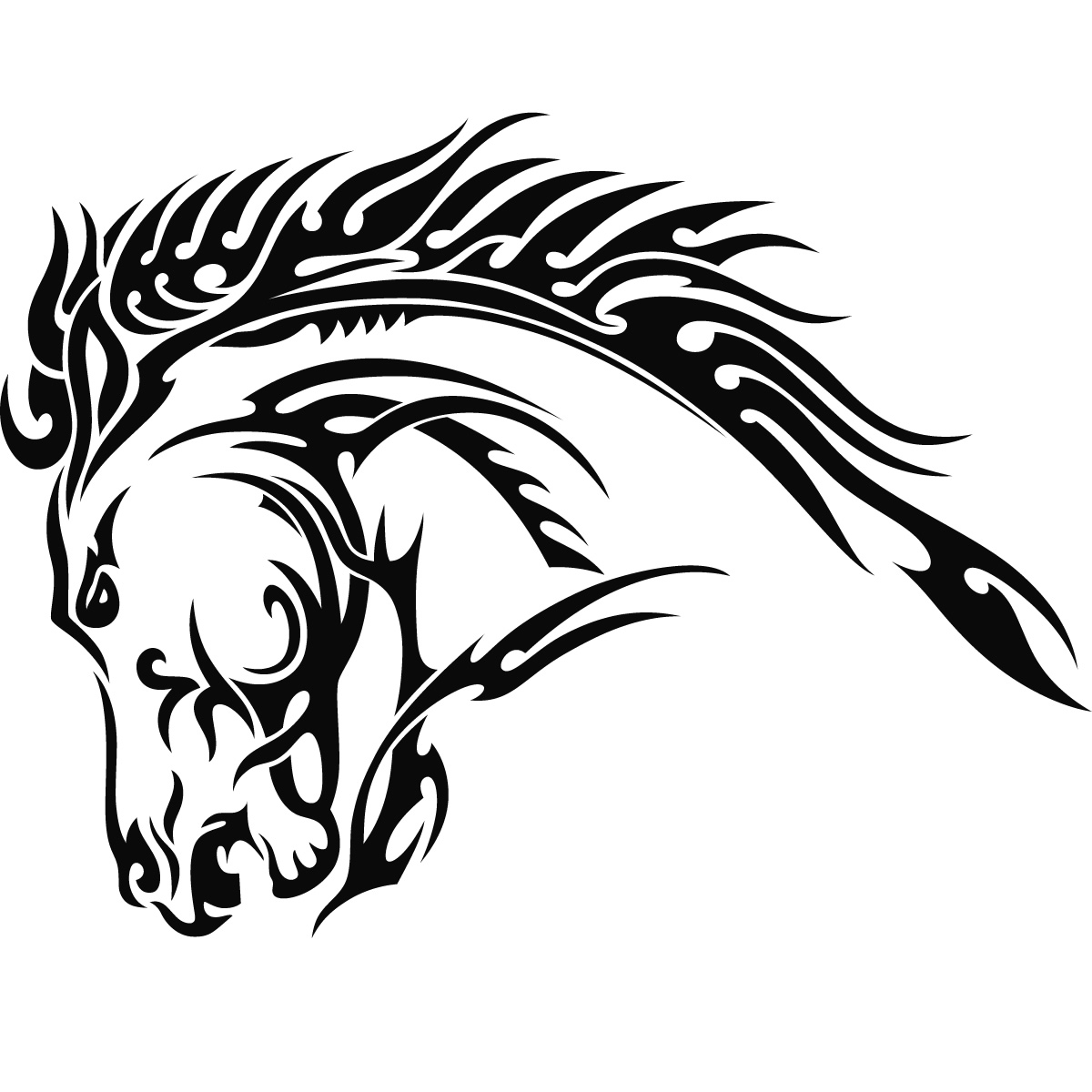 sticker tribal wall 34.jpg Art Sticker Head Horses Tribal Wall