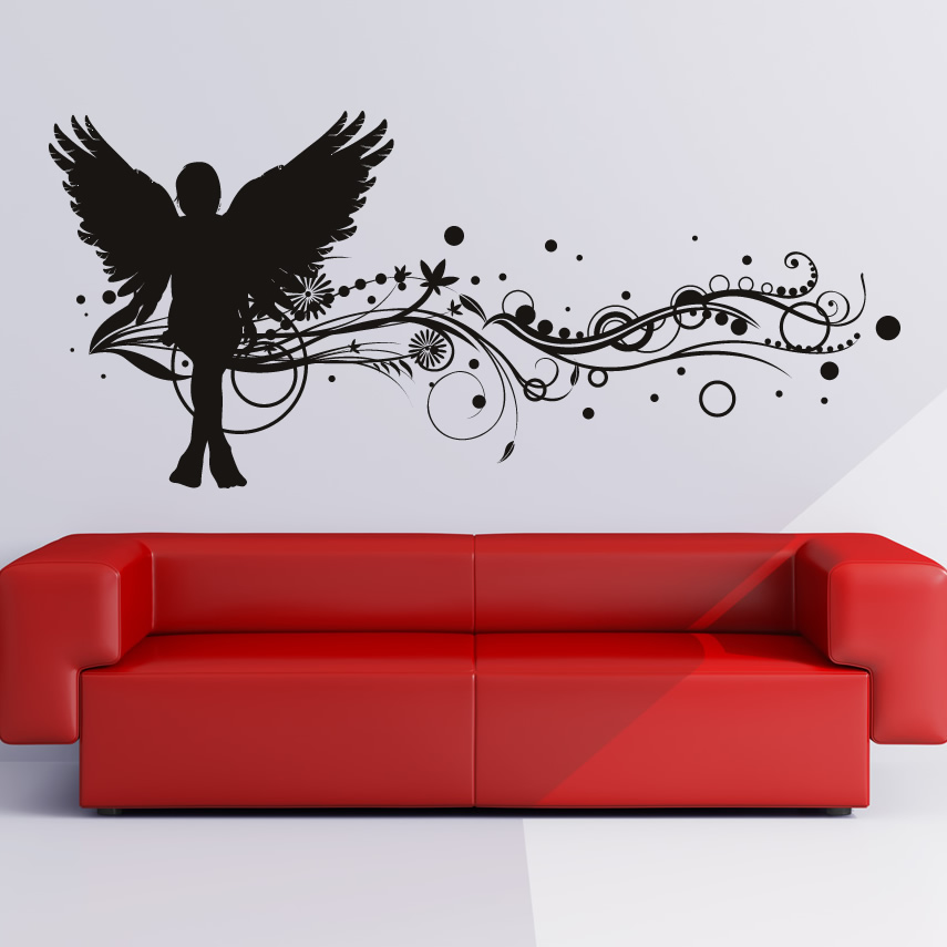 Floral angel wall art sticker wall decal transfers ebay for Angel wall mural