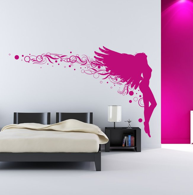 angel leaning back floral wall decal wall stickers