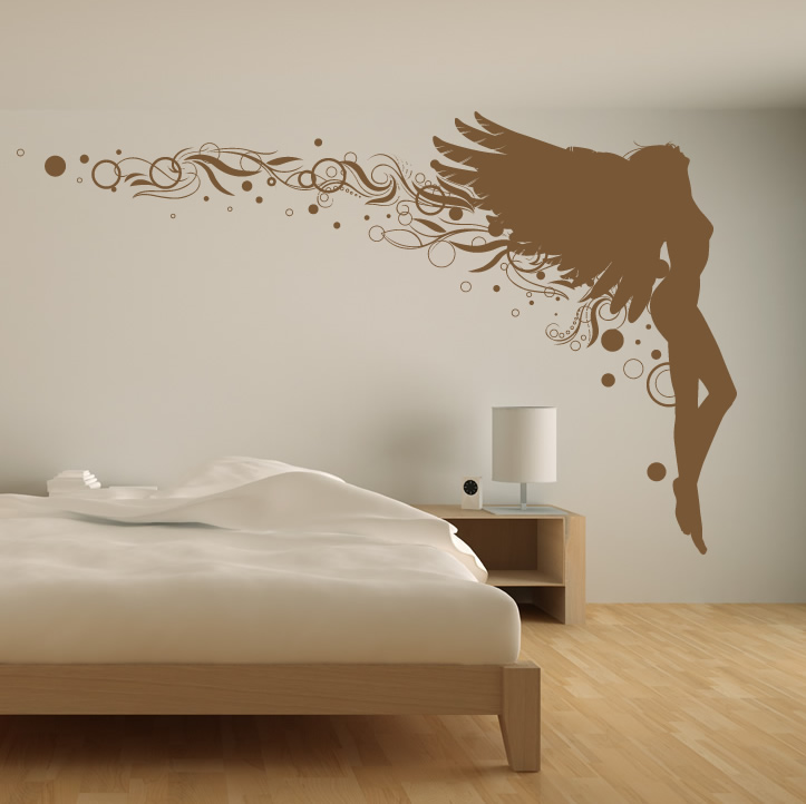 Angel leaning back floral wall decal wall stickers for Angel wall mural