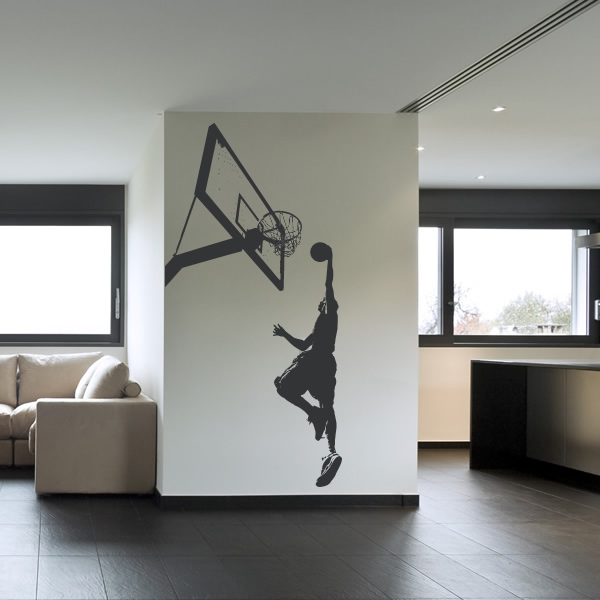 Basketball slam dunk sports and hobbies wall art decal for Basketball wall decals