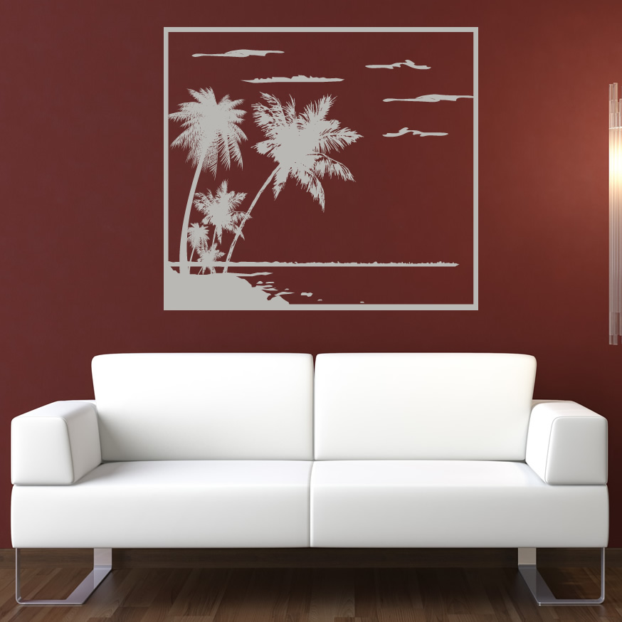 Beach palm trees wall art sticker wall decal transfers ebay for Beach wall decals