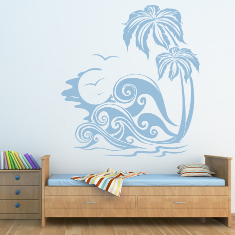Sea waves and palm trees at the beach wall sticker wall for Beach wall mural sticker