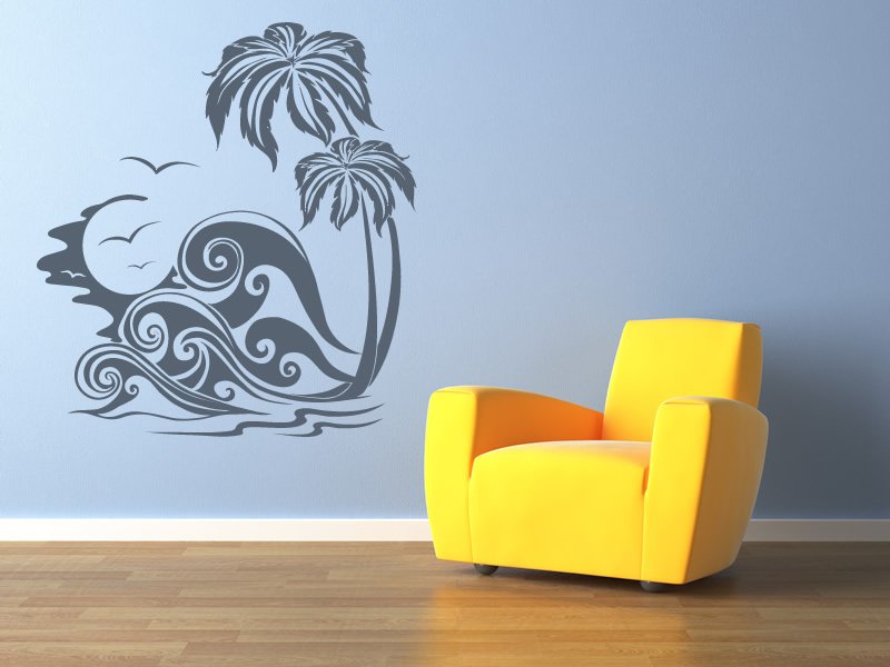 sea waves and palm trees at the beach wall sticker wall items similar to beach shells wall decals set of 30