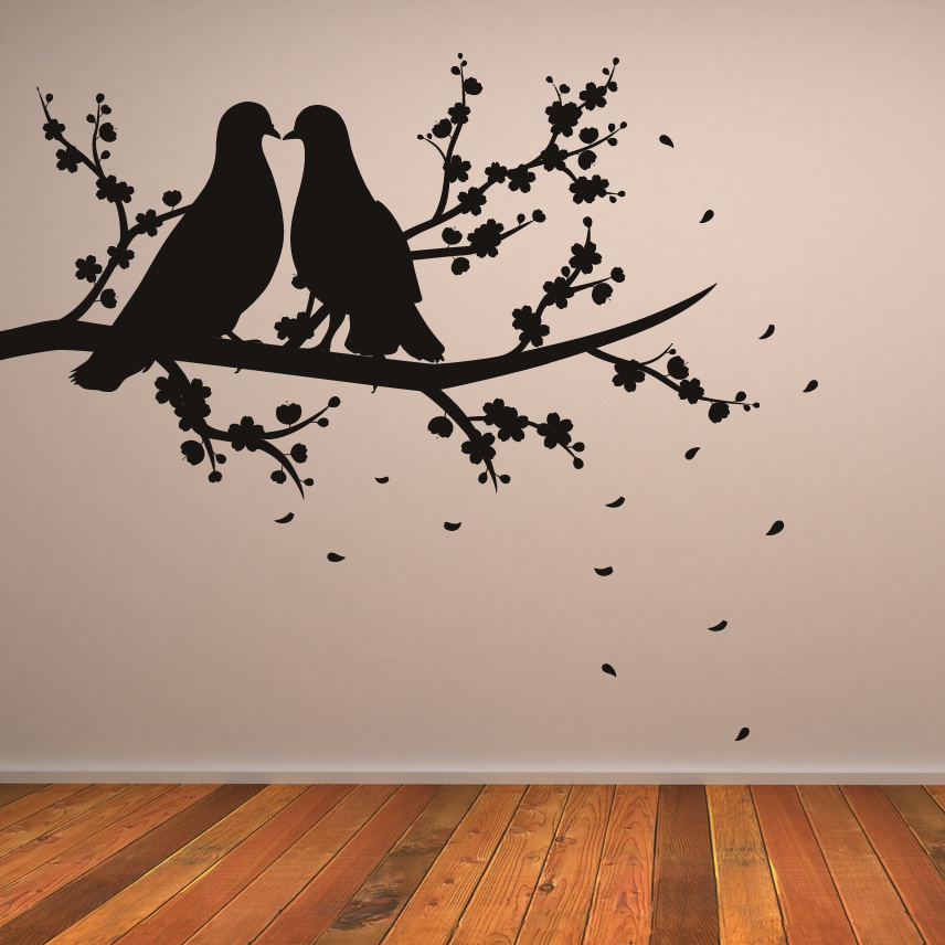 About Two Birds On Branch Nature Wall Art Sticker Decal Transfers