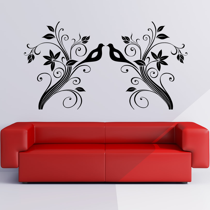 birds on branches floral wall art sticker wall decals transfers ebay. Black Bedroom Furniture Sets. Home Design Ideas