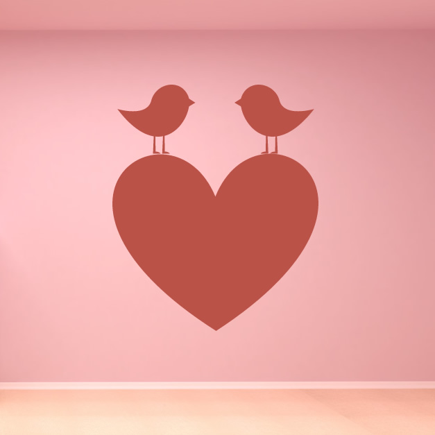 Wall Art Love Heart : Two birds on a love heart wall art sticker decal