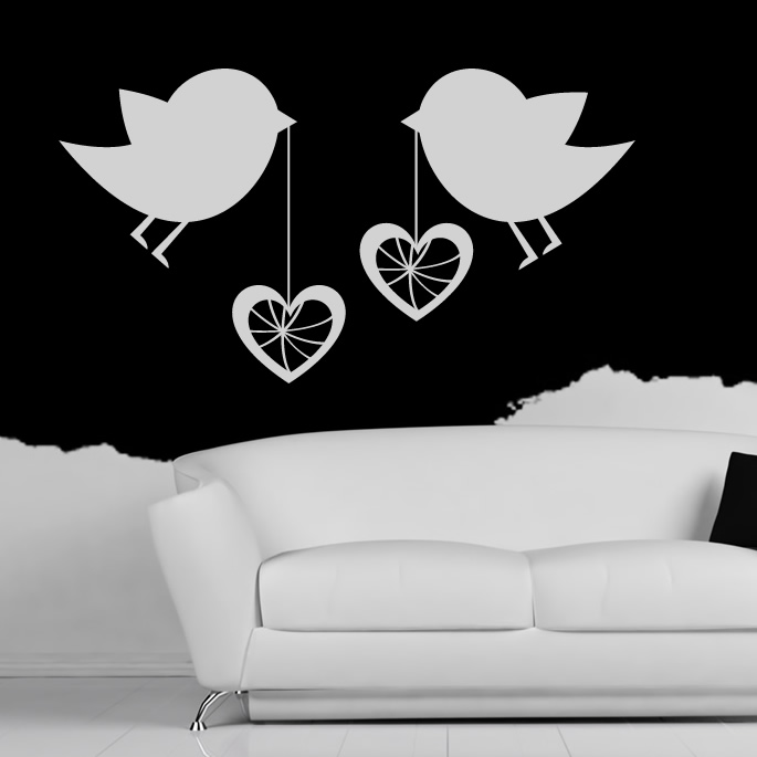Wall art stickers hearts : Birds with love hearts wall art sticker decal