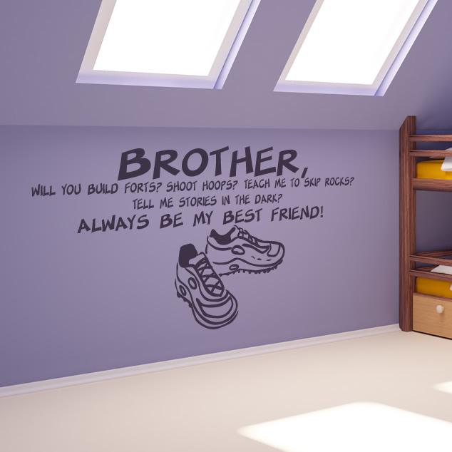 Wall art stickers family quotes : Brother always best friend family wall quotes art