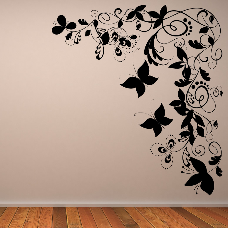 Butterfly floral decorative corner wall art sticker wall art transfers ebay - Decorative wall sticker ...