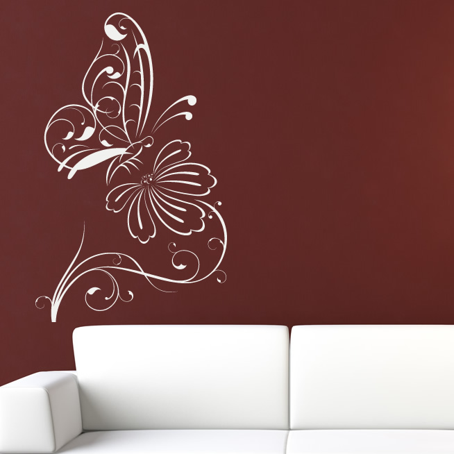 Butterfly on flower outline floral wall decal wall for Decor outline
