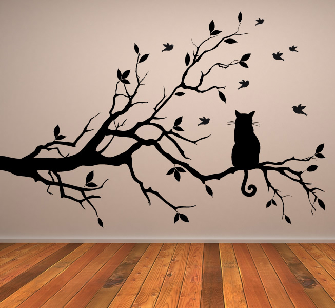 cat on long tree branch wall sticker animals cats and dogs cat wall sticker cosy home blog