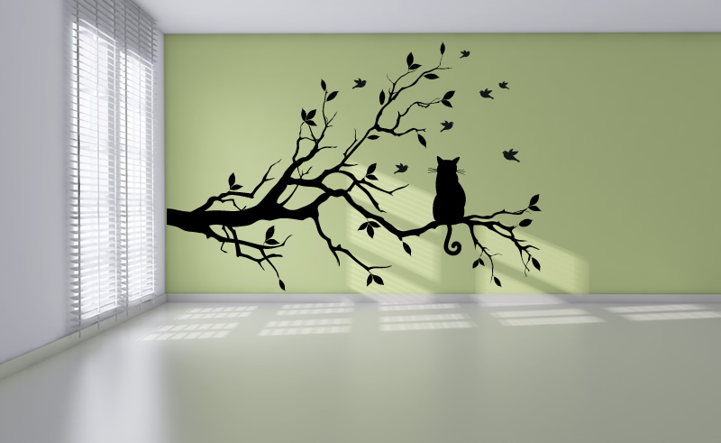cat on long tree branch wall sticker animals cats and dogs With cat wall art