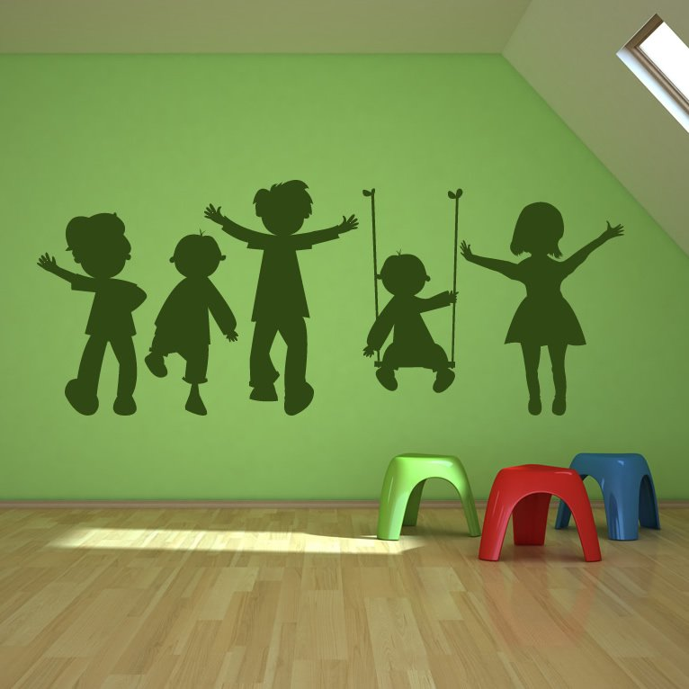 children playing swing kids wall art sticker wall decal
