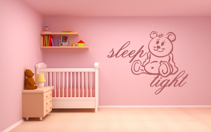 Sleep tight teddy bear wall stickers girls bedroom wall for Belly button bears wall mural