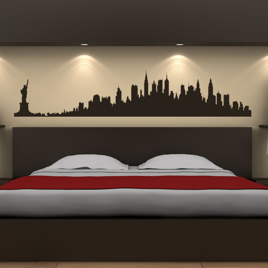 new york city skyline wall stickers america usa places wall art decal transfers ebay. Black Bedroom Furniture Sets. Home Design Ideas
