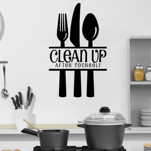 Wall Art Stickers Kitchen : Clean up after yourself with cutlery wall stickers kitchen