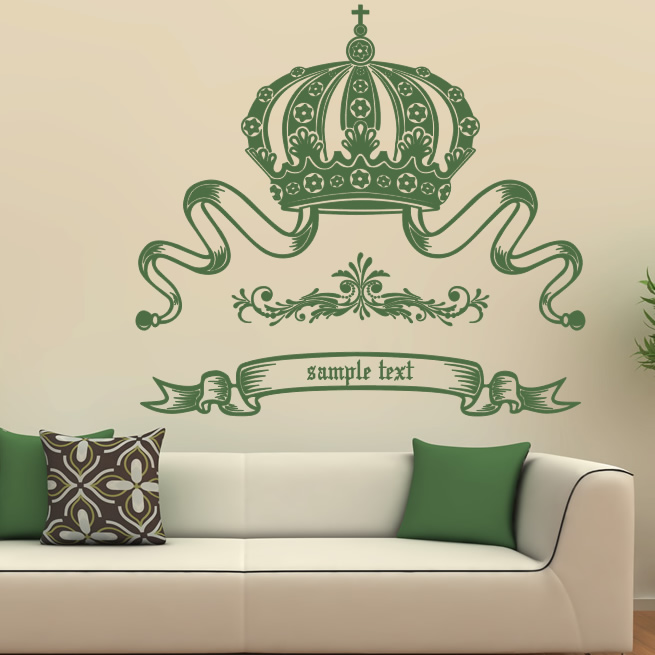 Wall Art Stickers Custom : Crown custom badge wall decal art stickers transfers