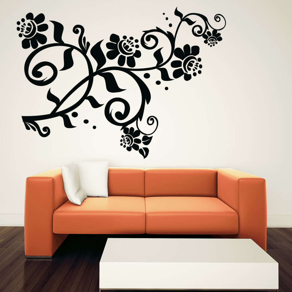 Curly Flower Floral Wall Art Sticker Wall Decal Transfers