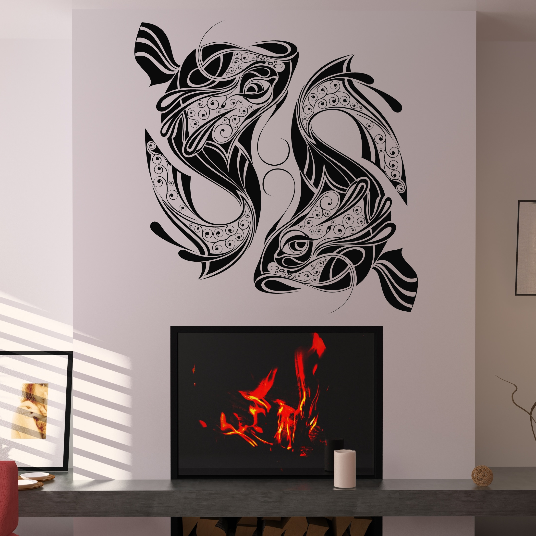 Decorative fish twin fish wall decal wall art stickers transfers ebay - Decorative wall sticker ...