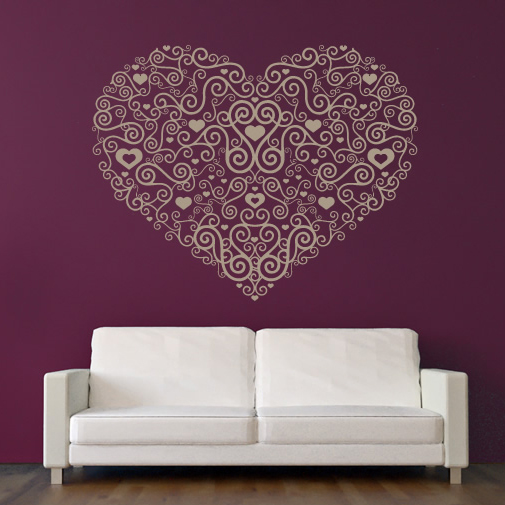 Wall art stickers hearts : Floral heart decoration wall stickers home and living