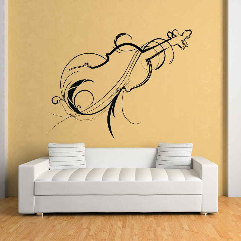 Decorative violin wall art decals wall stickers transfers ebay - Decorative wall sticker ...