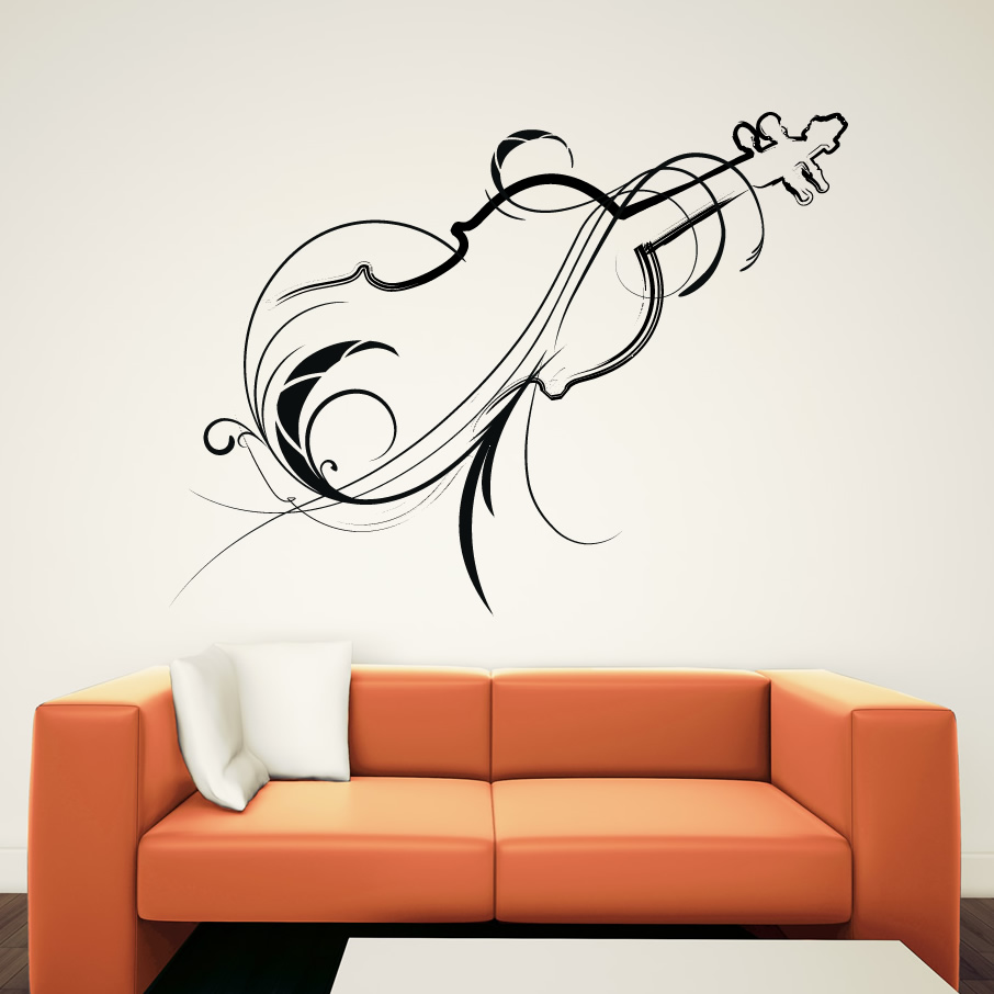 Wall art decals photograph decorative violin wall art deca for Decor mural wall art