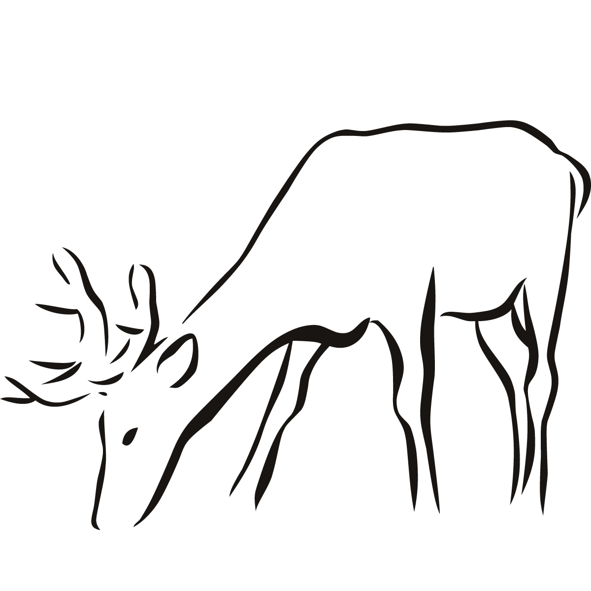 Out Line Drawing Of Animals : Deer outline animal wall sticker art decal transfers