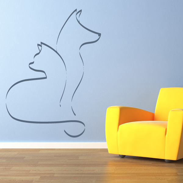 outline cat and dog cats and dogs animals wall stickers