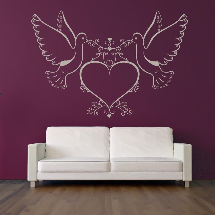 Wall Art Love Hearts : Doves and love heart wall art sticker decals