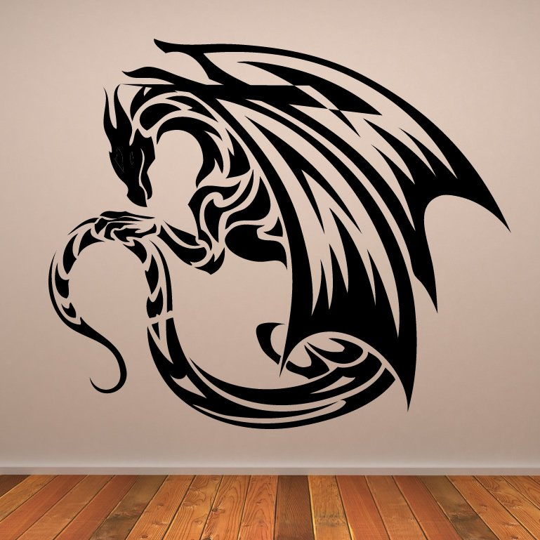 Winged dragon design wall art sticker wall decals for Designer wall art
