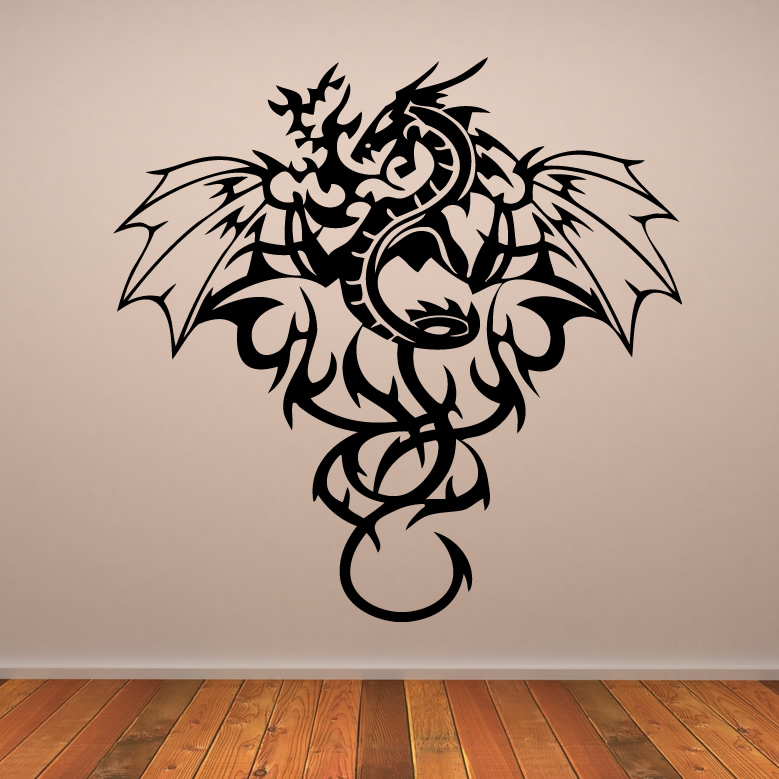 Pin Whole Wall Of Trophies That He Received For His Tattoos ... Awesome  Dragon Design Wall Art ...