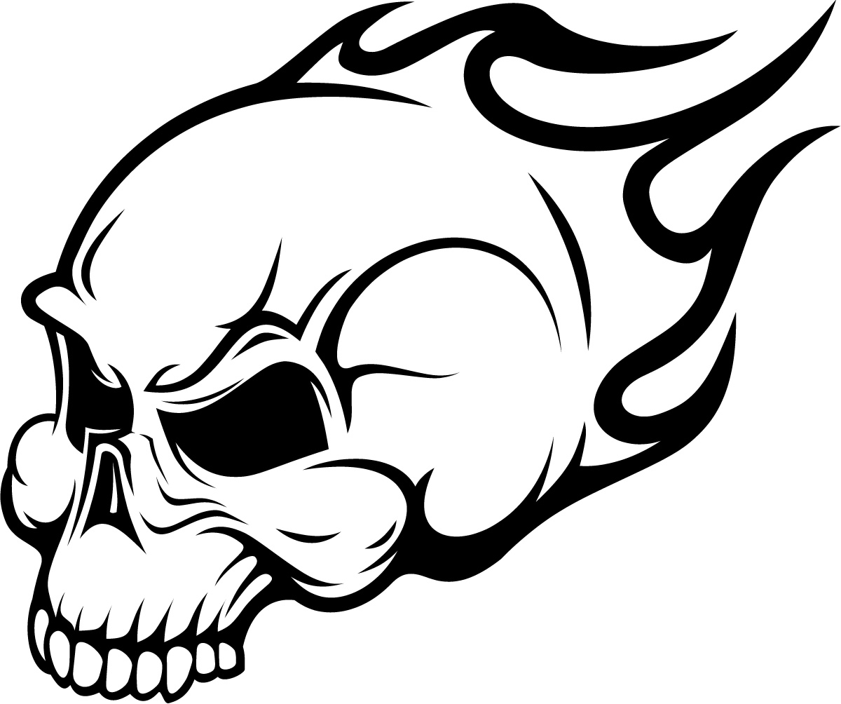 flaming skull coloring pages | Flaming Skull Head Wall Art Sticker Wall Decals Transfers ...