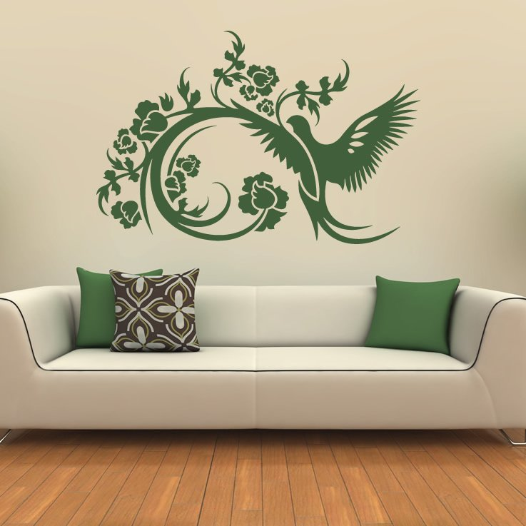 Floral decorative bird wall stickers wall art decals transfers ebay - Decorative wall sticker ...