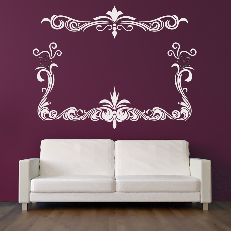floral border flowers wall decal wall art stickers. Black Bedroom Furniture Sets. Home Design Ideas